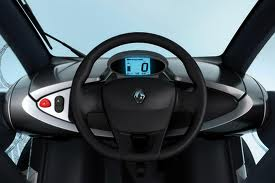 Renault Twizy interior view from driver's seat