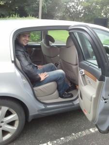 Ben Harrington of Driving Torque in rear of Renault Vel Satis