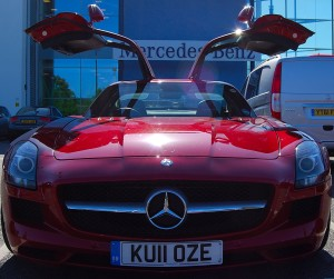 Mercedes Benz SLS AMG Red doors open