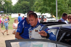 Petter Solberg exiting WRC Carfest