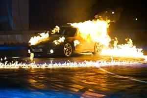 flaming Porsche at Top Gear Live