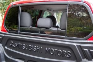 Mitsubishi L200 Trojan Red Rear Window