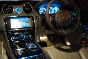 Jaguar XJ interior at night